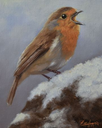 John Silver Original Oil Painting Of A Robin Singing In The Winter Snow